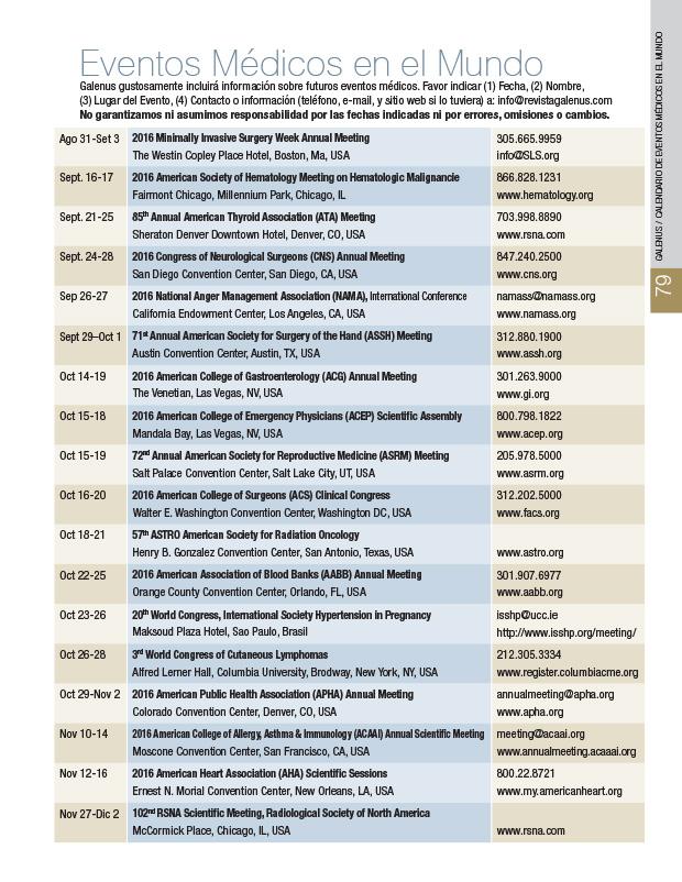 Calendario: Eventos médicos en Mundo