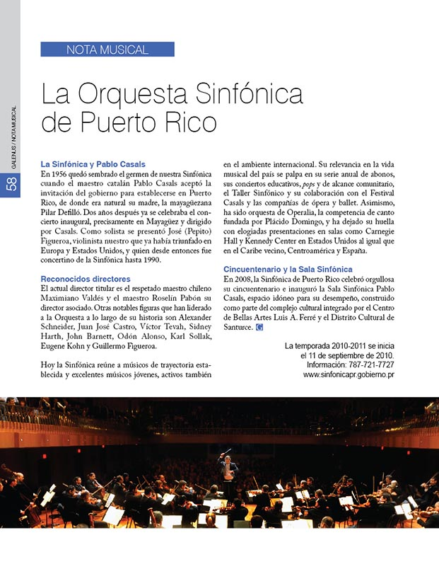 Nota Musical: La Orquesta Sinfónica de Puerto Rico