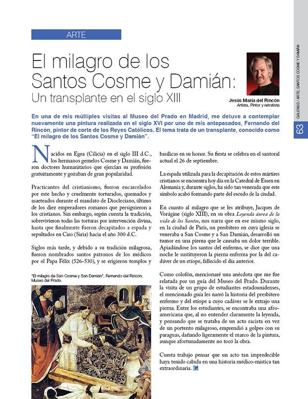 Arte: El milagro de los Santos Cosme y Damián: Un transplante en el siglo XIII