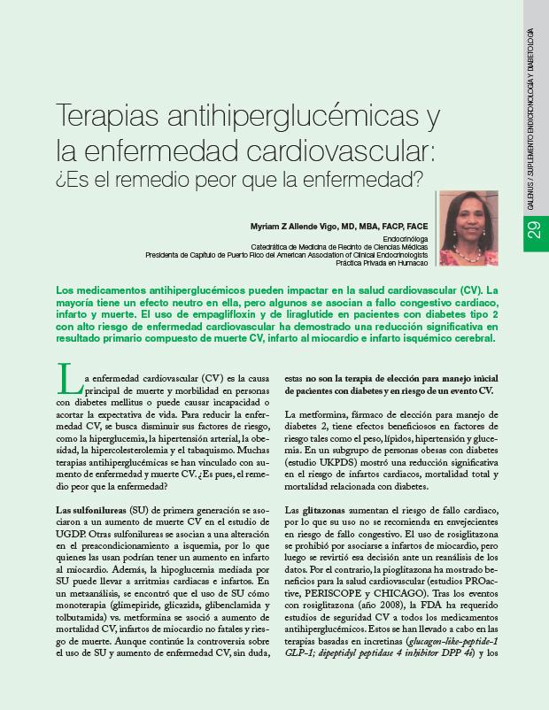 Terapias antihiperglucémicas y la enfermedad cardiovascular: ¿Es el remedio peor que la enfermedad?