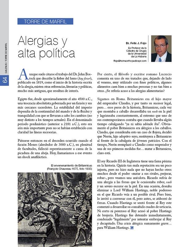 La torre de marfil: Alergias y alta política