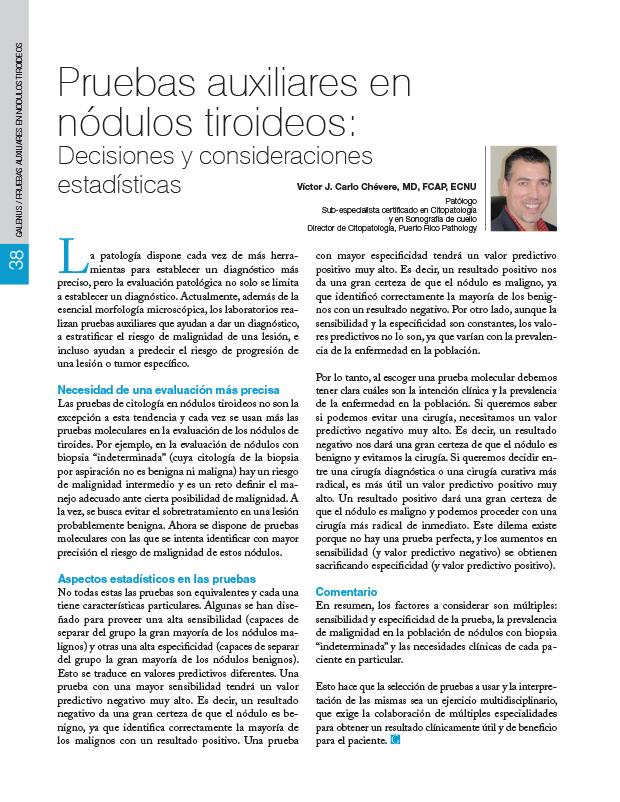 Pruebas auxiliares en nódulos tiroideos: Decisiones y consideraciones estadísticas