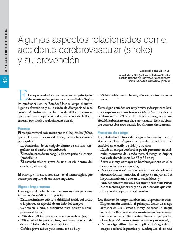 Algunos aspectos relacionados con el accidente cerebrovascular (stroke) y su prevención