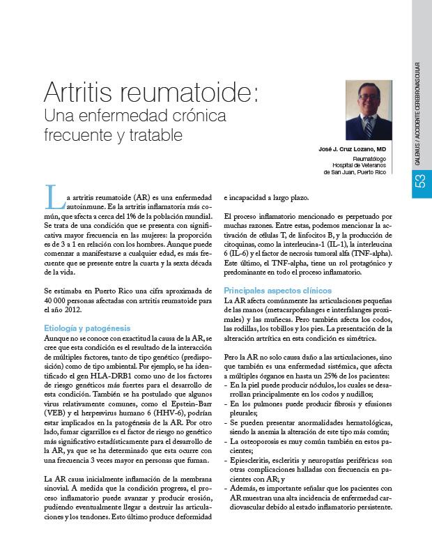 Artritis reumatoide: Una enfermedad crónica frecuente y tratable
