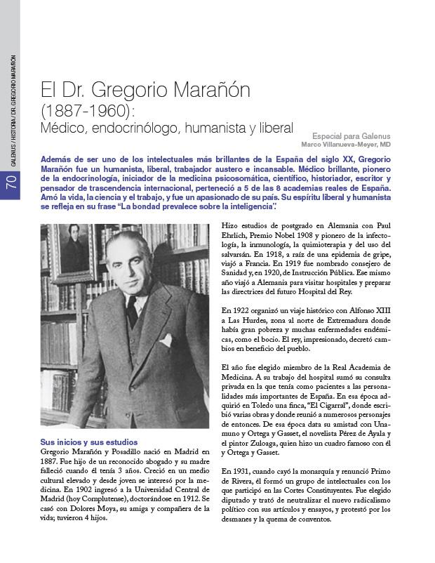 Historia Mundo: El Dr. Gregorio Marañón (1887-1960): Médico, endocrinólogo, humanista y liberal