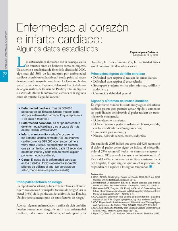 18.Enfermedad al corazón e infarto cardiaco: Algunos datos estadísticos