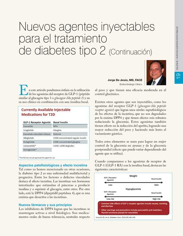Nuevos agentes inyectables para el tratamiento de diabetes tipo 2 (Continuación)
