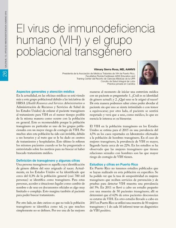 El virus de inmunodeficiencia humano (VIH) y el grupo poblacional transgénero