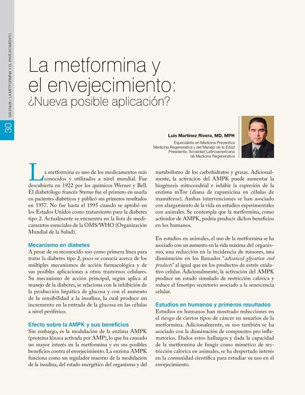 La metformina y el envejecimiento: ¿Nueva posible aplicación?