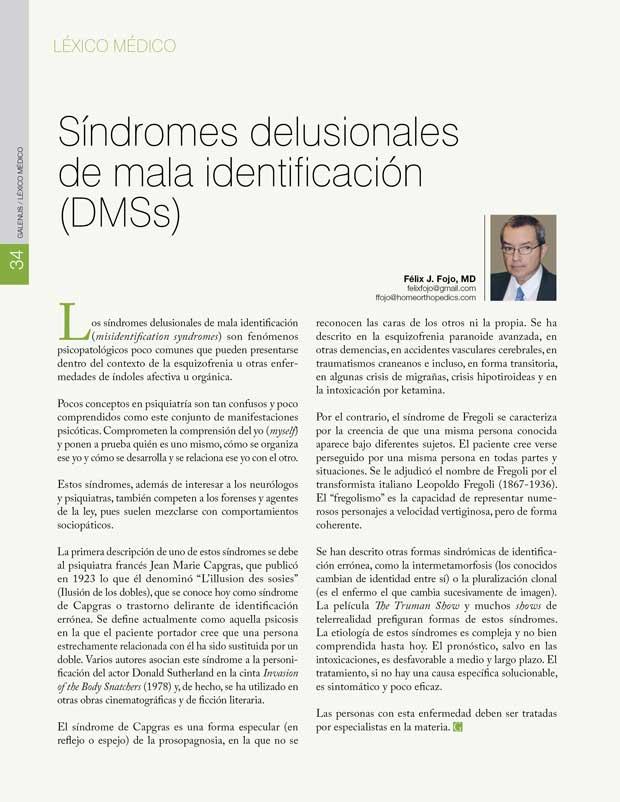 Síndromes delusionales de mala identificación (DMSs)