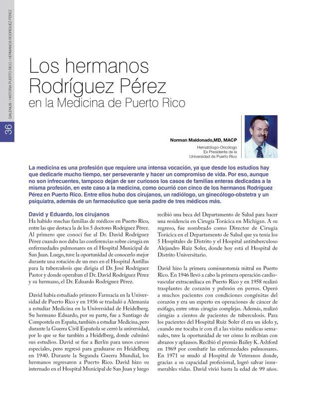 Historia Puerto Rico: Los hermanos Rodríguez Pérez en la Medicina de Puerto Rico