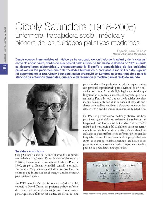 Historia Mundo: Cicely Saunders (1918-2005) Enfermera, trabajadora social, médica y pionera de los cuidados paliativos modernos