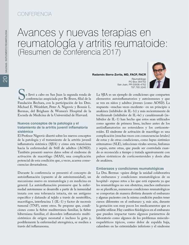 Avances y nuevas terapias en reumatología y artritis reumatoide