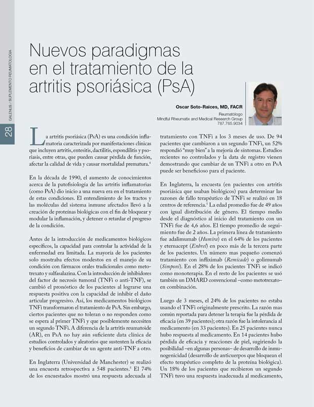 Nuevos paradigmas  en el tratamiento de la  artritis psoriásica (PsA)