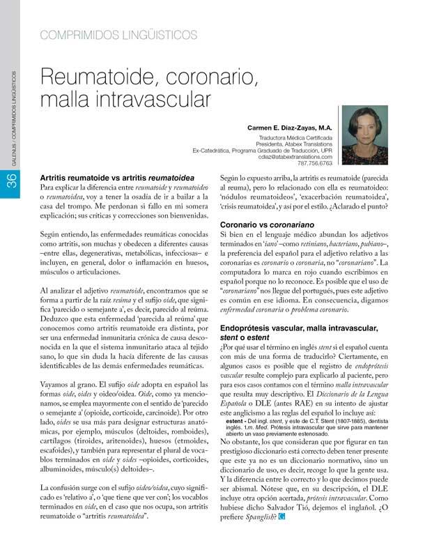 Reumatoide, coronario, malla intravascular