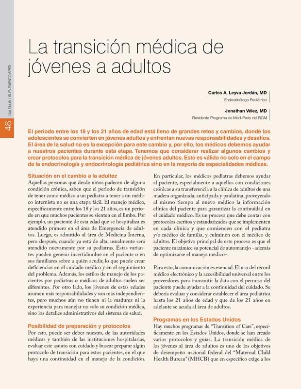 La transición médica de jóvenes a adultos