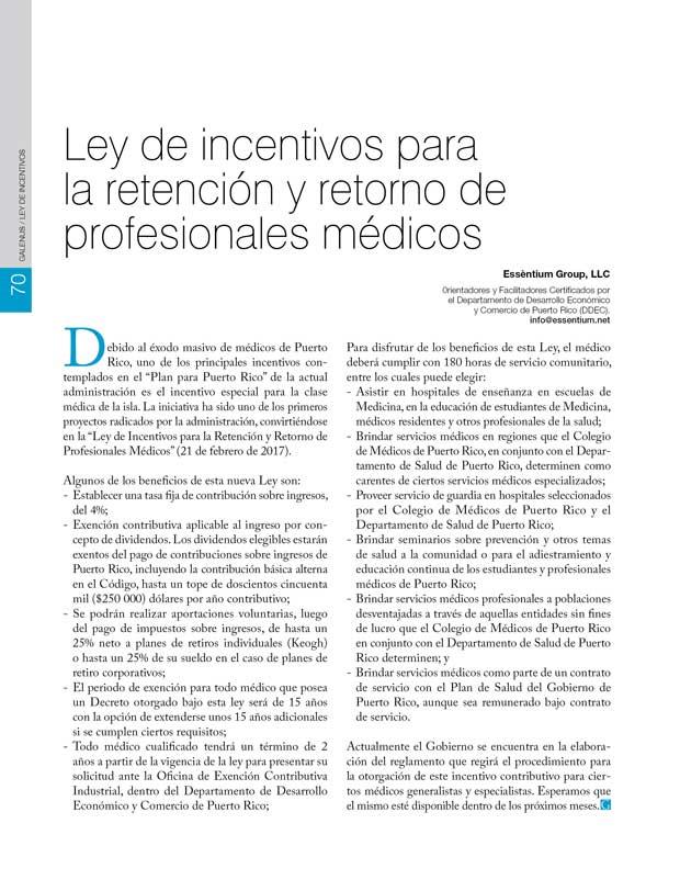 Ley de incentivos para la retención y retorno de profesionales médicos
