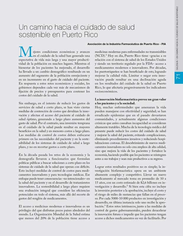 Un camino hacia el cuidado de salud sostenible en Puerto Rico