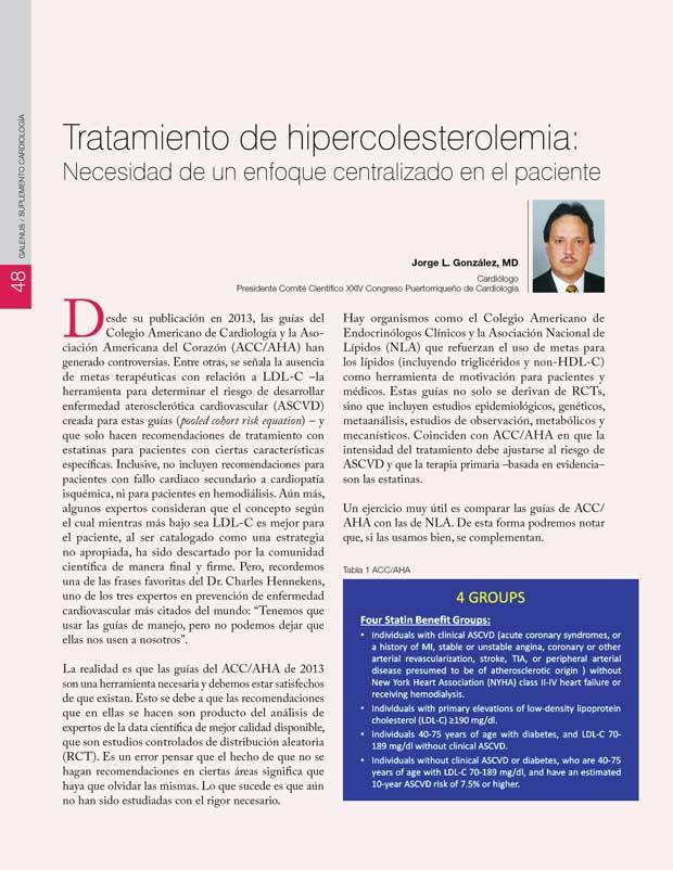Tratamiento de hipercolesterolemia