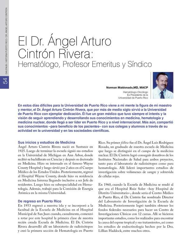 El Dr. Ángel Arturo  Cintrón Rivera