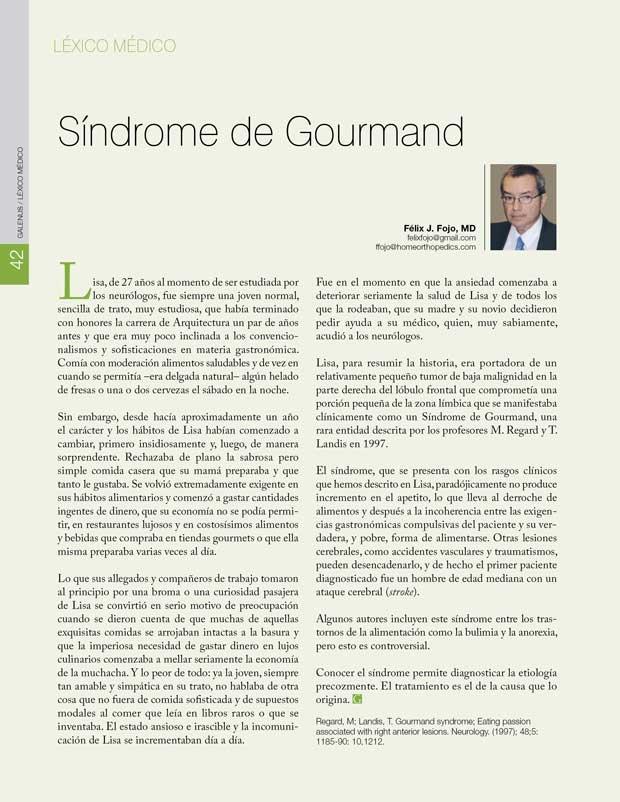 Léxico Médico: Síndrome de Gourmand