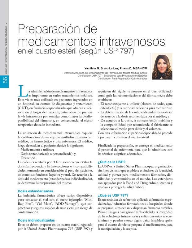 Preparación de  medicamentos intravenosos