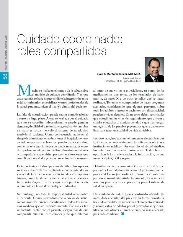 Cuidado coordinado:  roles compartidos