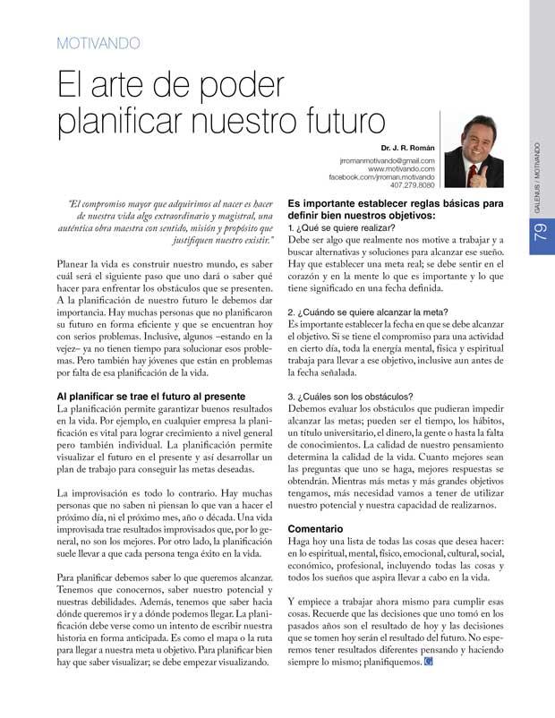 Motivando: El arte de poder  planificar nuestro futuro