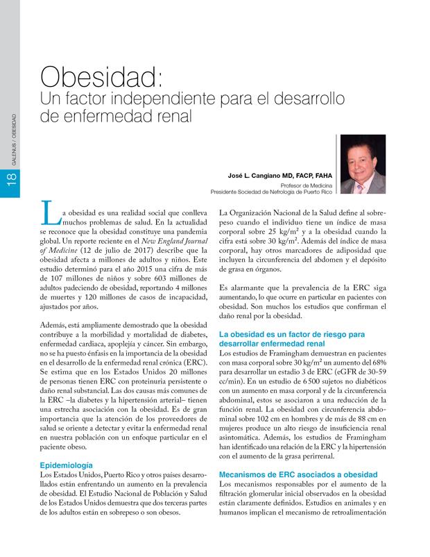 Obesidad: Un factor independiente para el desarrollo  de enfermedad renal