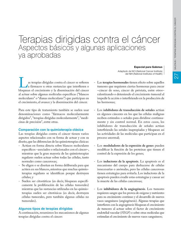 Terapias dirigidas contra el cáncer