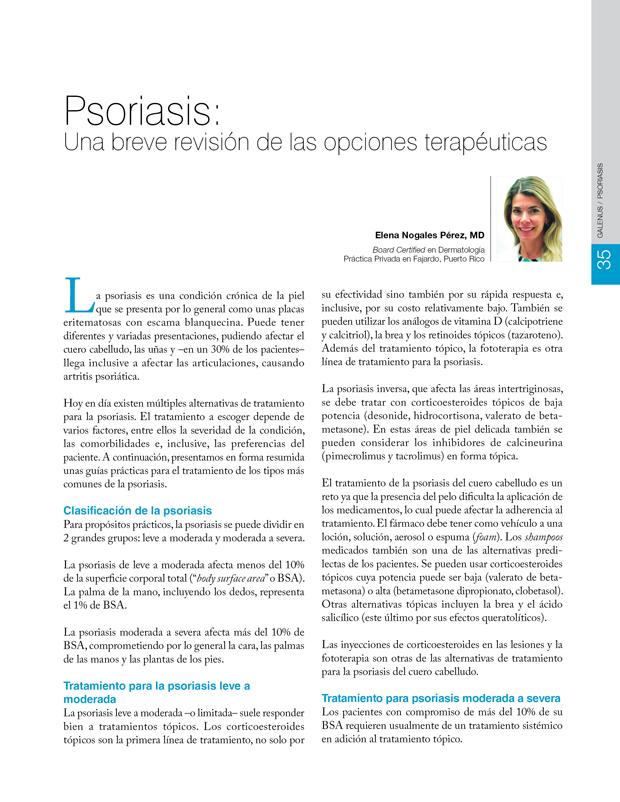 Psoriasis: Una breve revisión de las opciones terapéuticas