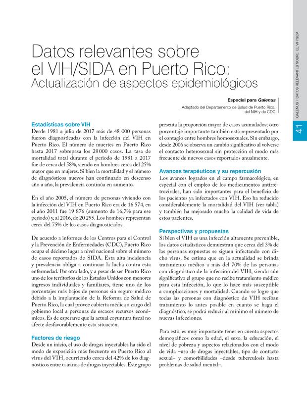 Datos relevantes sobre  el VIH/SIDA en Puerto Rico