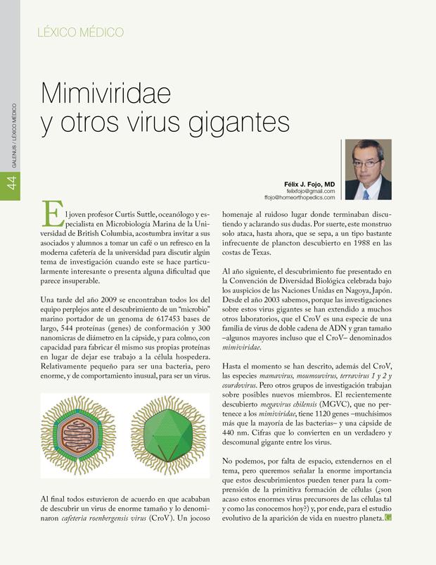 Léxico Médico: Mimiviridae  y otros virus gigantes