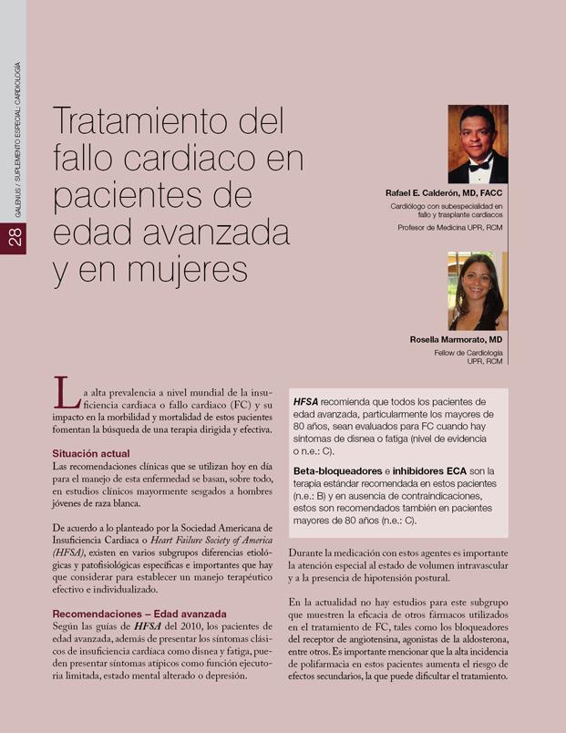 Tratamiento del fallo cardiaco en pacientes de edad avanzada y en mujeres