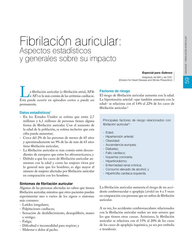 Fibrilación auricular: Aspectos estadísticos  y generales sobre su impacto