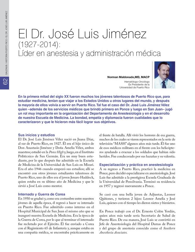 Historia: El Dr. José Luis Jiménez