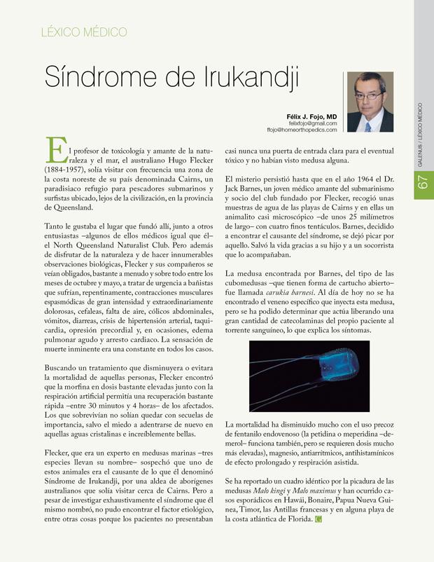 Léxico Médico: Síndrome de Irukandji