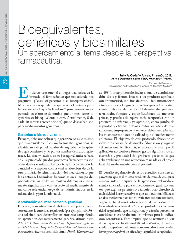 Bioequivalentes,  genéricos y biosimilares