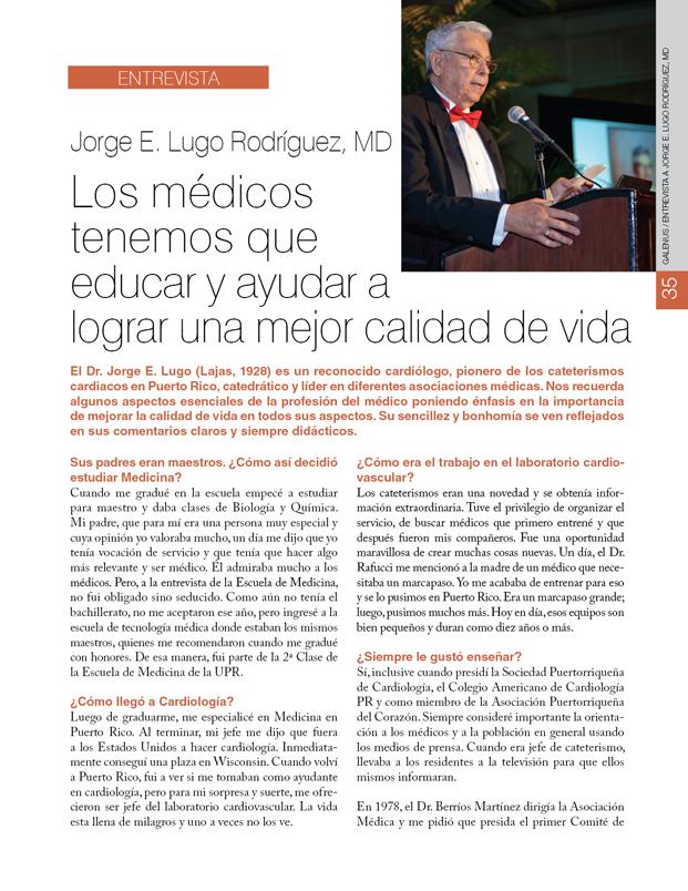 Entrevista a Jorge E. Lugo Rodríguez, MD: