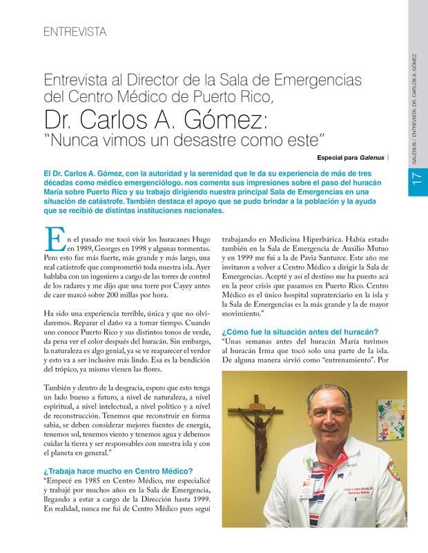 Entrevista: Director de la Sala de Emergencias  del Centro Médico de Puerto Rico, Dr. Carlos A. Gómez