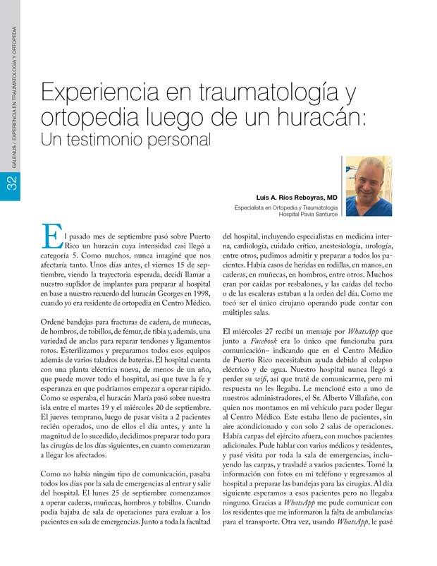 Experiencia en traumatología y  ortopedia luego de un huracán: Un testimonio personal