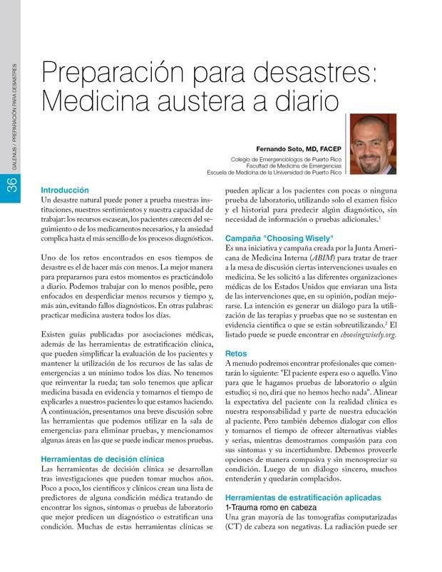 Preparación para desastres:  Medicina austera a diario