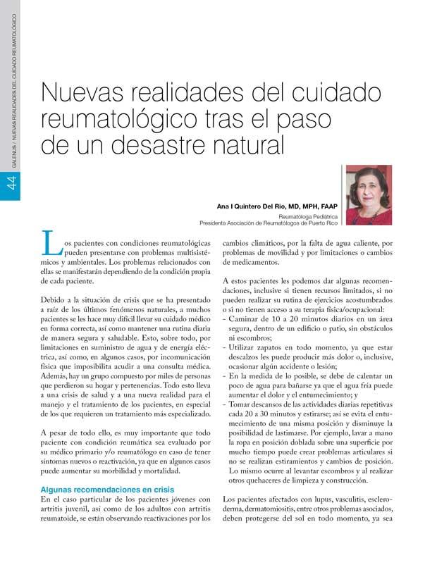 Nuevas realidades del cuidado reumatológico tras el paso  de un desastre natural