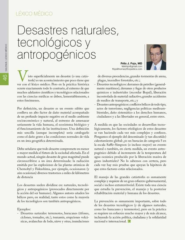 Léxico Médico: Desastres naturales,  tecnológicos y antropogénicos