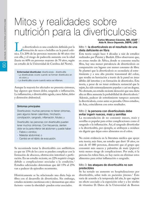 Mitos y realidades sobre  nutrición para la diverticulosis
