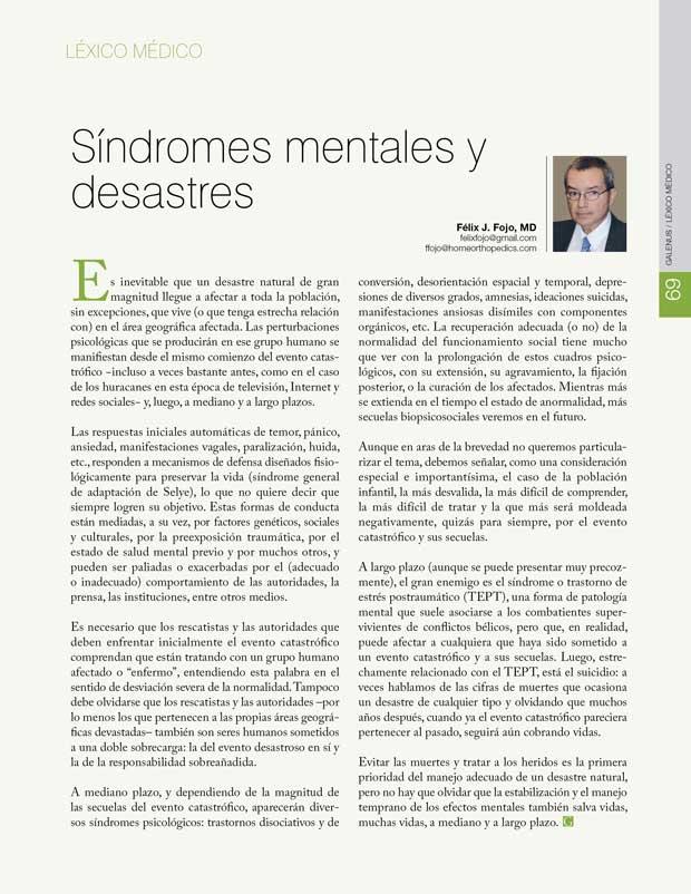 Léxico Médico: Síndromes mentales y  desastres
