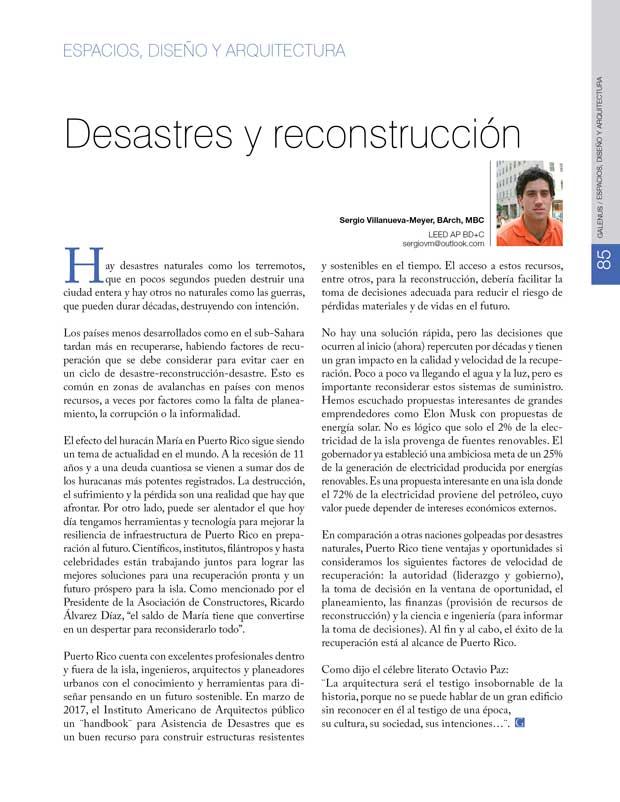 Espacios, diseño y arquitectura: Desastres y reconstrucción
