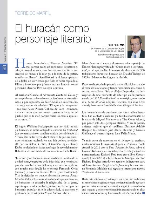 Torre de Marfil: El huracán como personaje literario