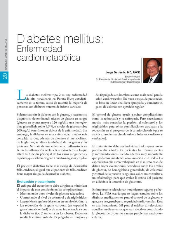 Diabetes mellitus: Enfermedad cardiometabólica