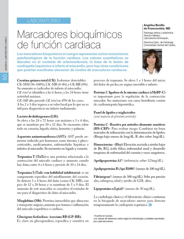 Laboratorio: Marcadores bioquímicos de la función cardiaca